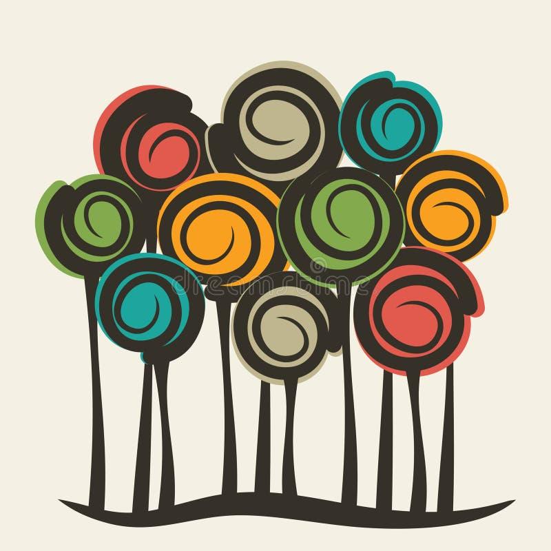 Arbre coloré abstrait illustration stock
