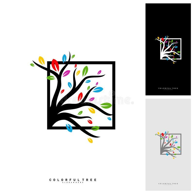 Arbre coloré Logo Design Template Concepts de luxe de logo d'arbre Nature Logo Concepts Vector illustration libre de droits