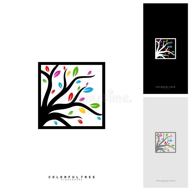 Arbre coloré Logo Design Template Concepts de luxe de logo d'arbre Nature Logo Concepts Vector illustration stock