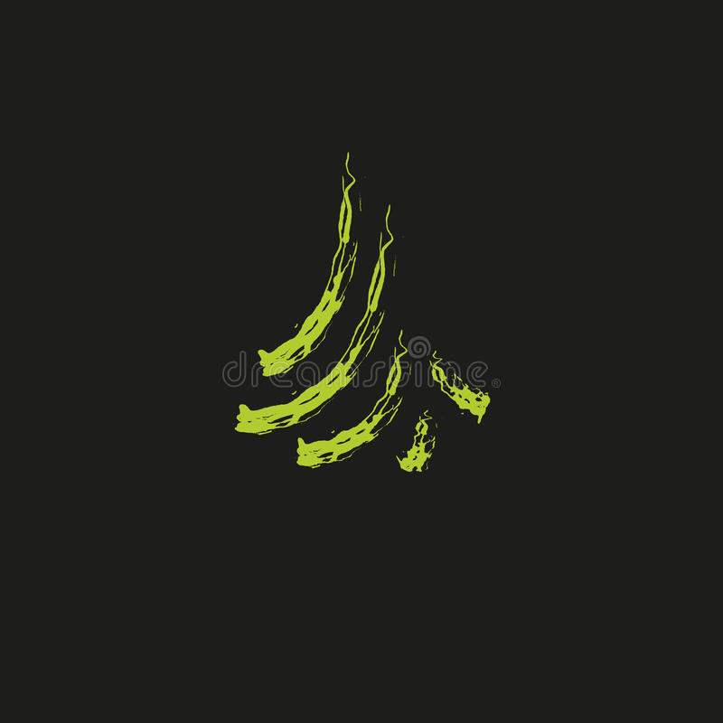 Arbre conifére à feuilles persistantes d'aiguilles de couleur verte, cèdre, brunchs de pin Élément abstrait de logo de vecteur Fe illustration libre de droits