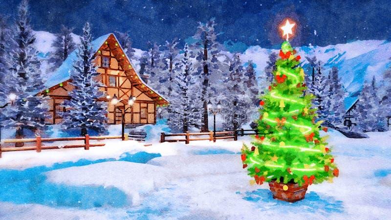 Arbre décoré de Noël la nuit hiver dans l'aquarelle photographie stock libre de droits