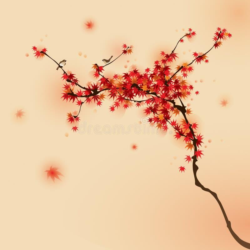 Arbre d'érable rouge en automne illustration de vecteur