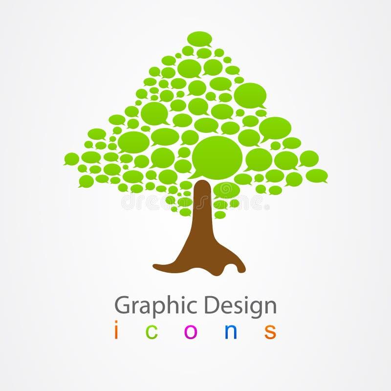 Arbre d'abrégé sur logo de bulle de conception graphique illustration de vecteur