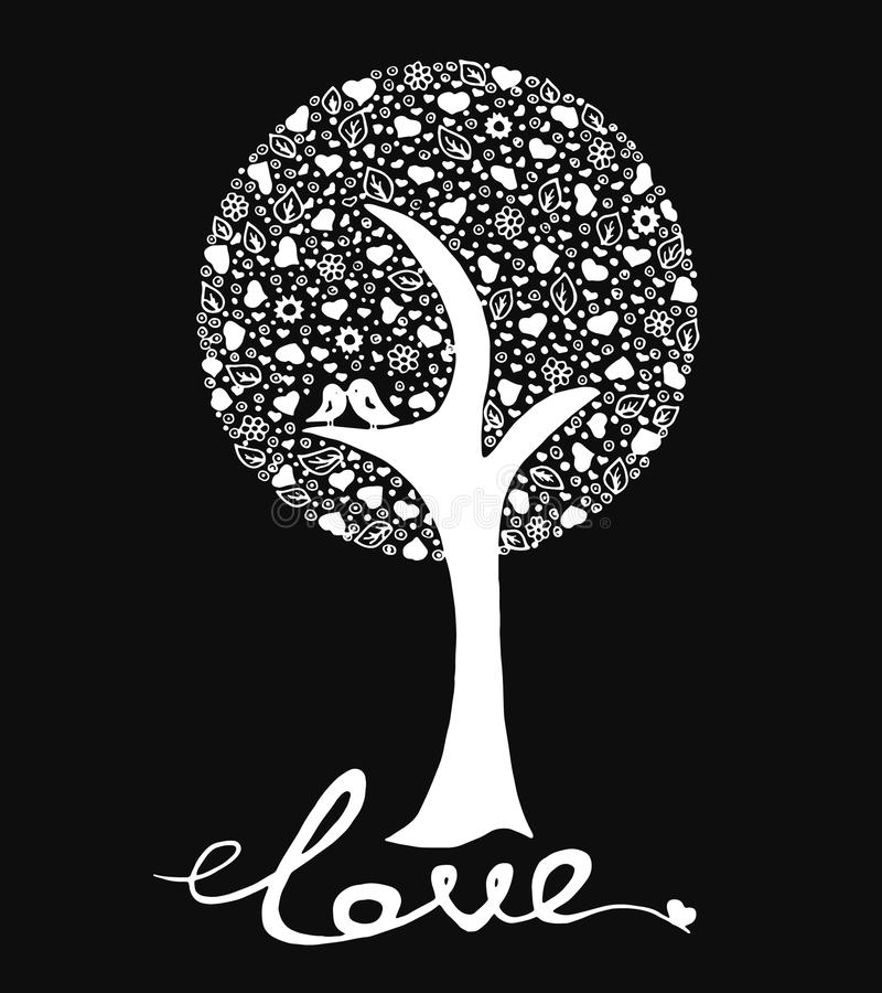 Arbre d'amour avec des oiseaux sur le fond noir illustration stock