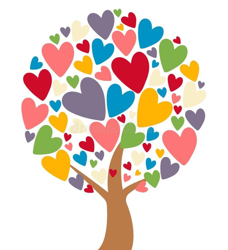 Arbre d'amour avec les feuilles colorées de coeur illustration stock