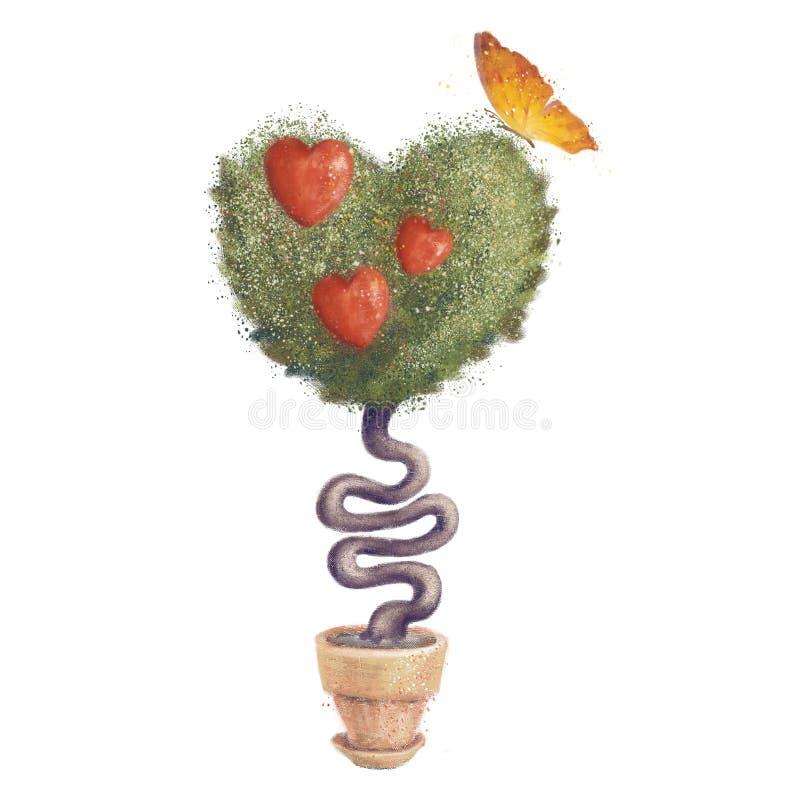 Arbre d'amour décoré des coeurs avec un papillon Roue dentée illustration de vecteur