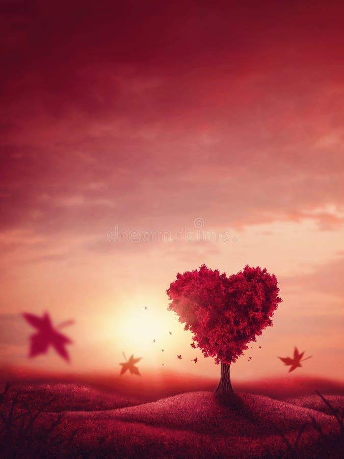 Arbre d'amour de coeur image stock