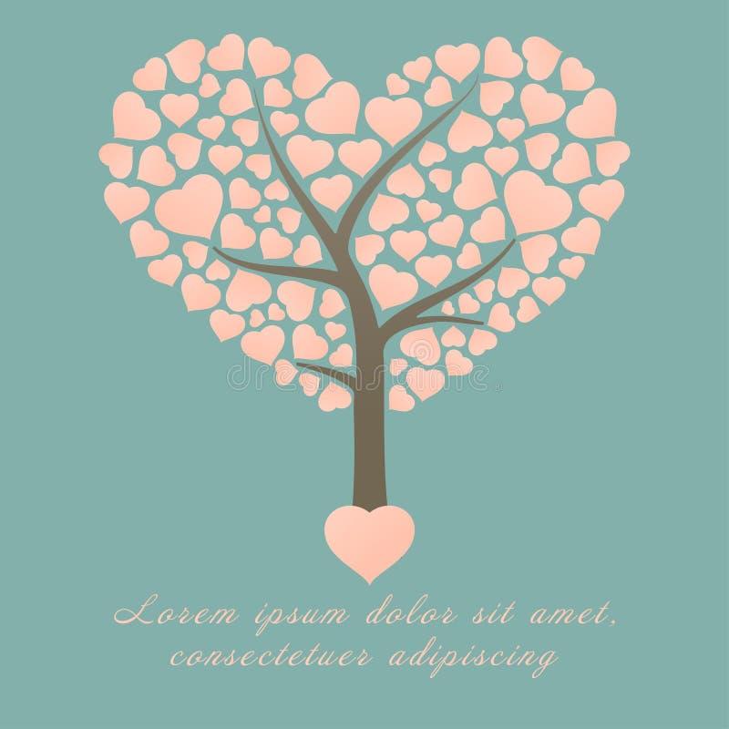 Arbre d'amour et feuilles roses de forme de coeur sur le thème vert de carte d'invitation de mariage ou de valentine de fond illustration libre de droits