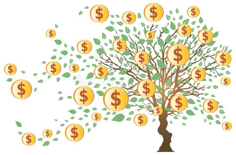 Arbre d'argent avec des dollars illustration de vecteur