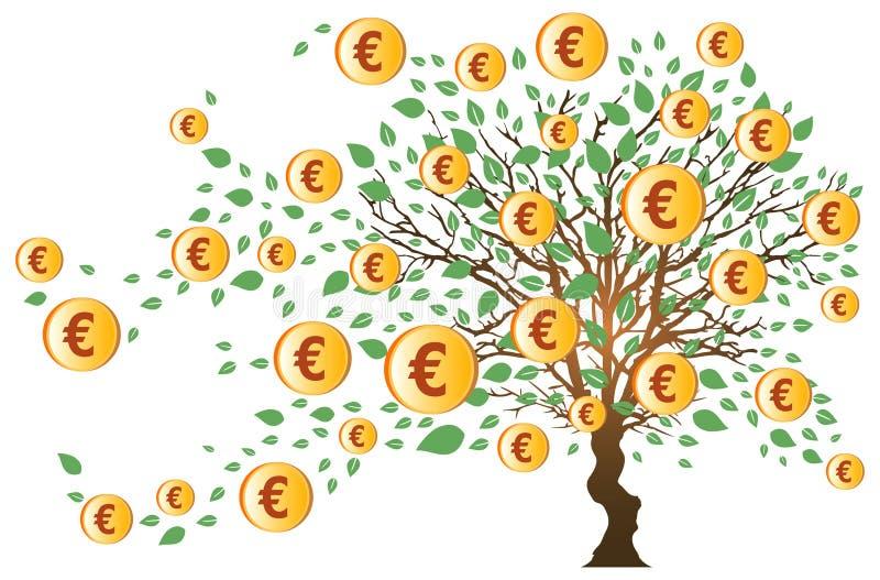 Arbre d'argent avec des euro illustration de vecteur