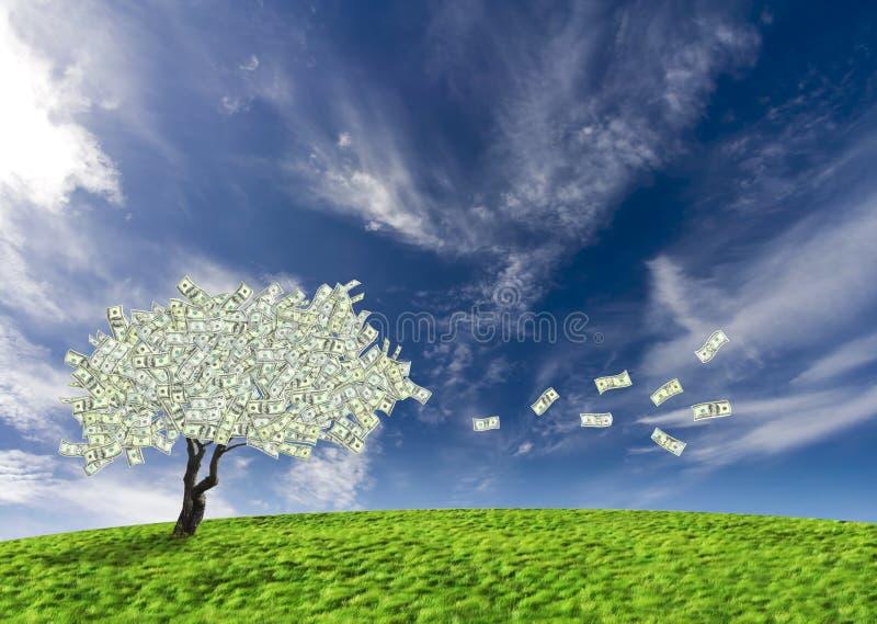 Arbre d'argent comptant du dollar illustration de vecteur