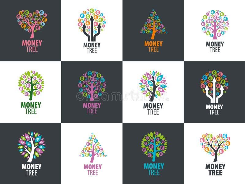 Arbre d'argent de logo illustration de vecteur