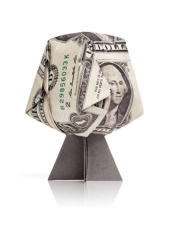Arbre d'argent du dollar d'origami sur un blanc photos stock