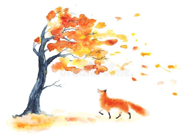 Arbre d'automne d'aquarelle avec les feuilles jaunes et d'orange et le renard mignon pelucheux rouge sur le blanc Chute de feuill illustration de vecteur
