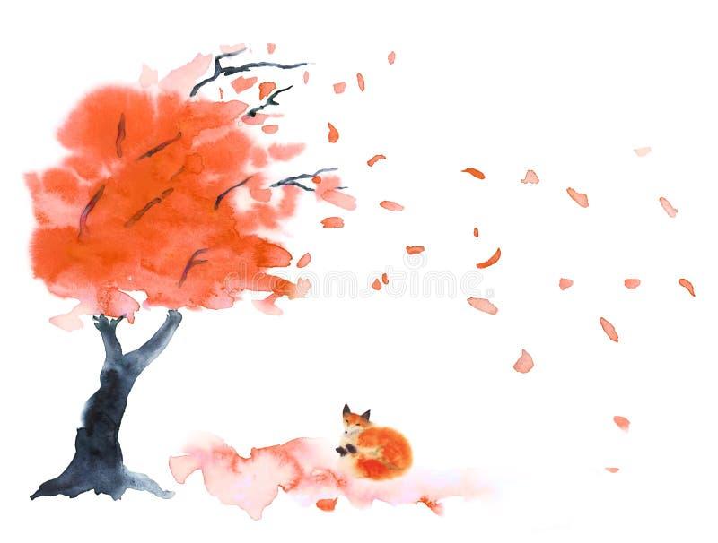 Arbre d'automne d'aquarelle avec les feuilles rouges ou d'orange et le renard mignon pelucheux rouge sur le blanc illustration libre de droits