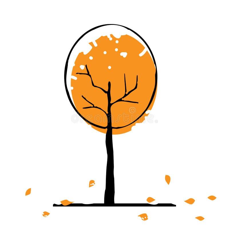 Arbre d'automne avec des feuilles illustration de vecteur