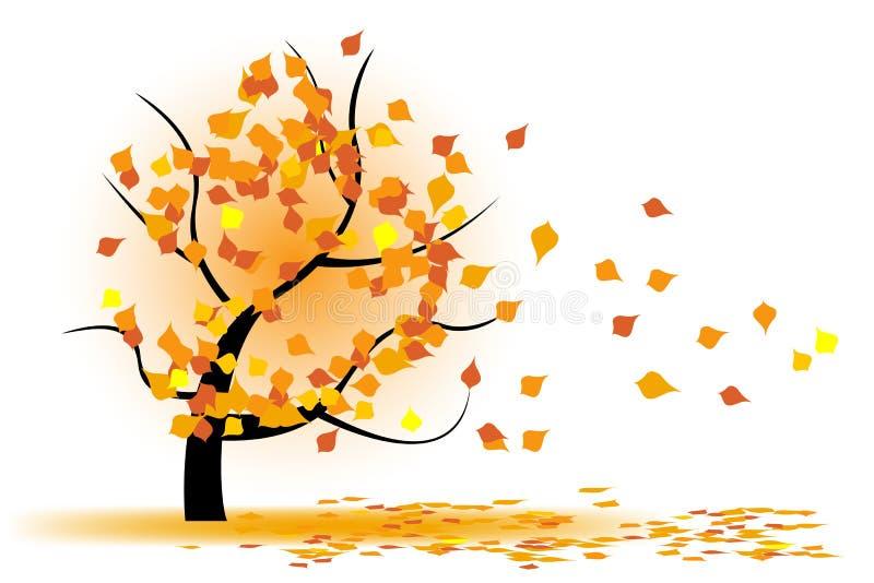 Arbre d'automne en vent illustration stock