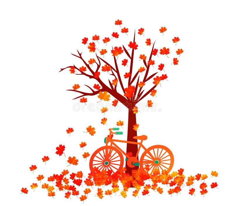 Arbre d'automne La chute laisse le fond illustration de vecteur