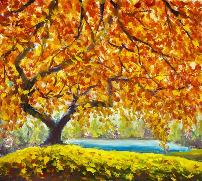 Arbre d 39 automne pr s de l 39 eau paysage d 39 automne de peinture l 39 huile illustration stock - Paysage d automne dessin ...