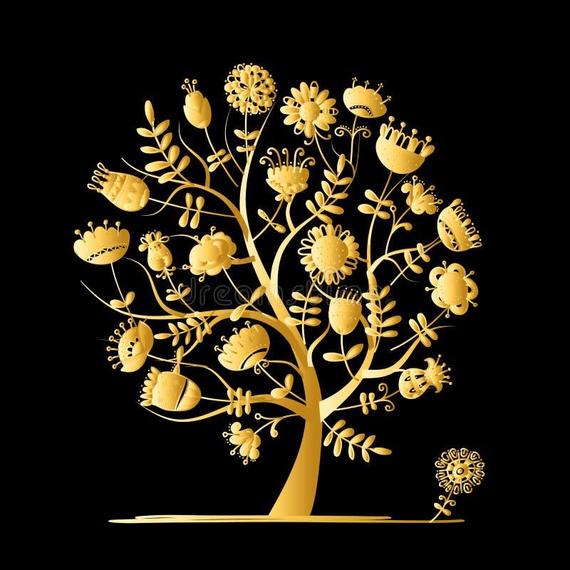 Arbre d'or avec des fleurs pour votre conception illustration libre de droits
