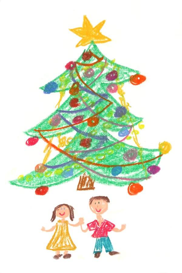 Arbre d'enfants et de Noël - retrait illustration libre de droits