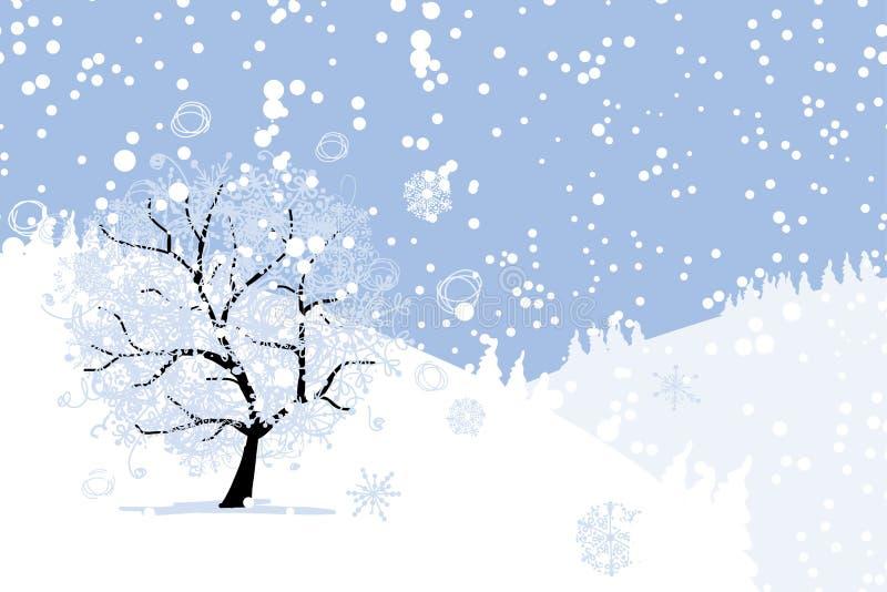 Arbre d'hiver pour votre conception. Vacances de Noël. illustration stock