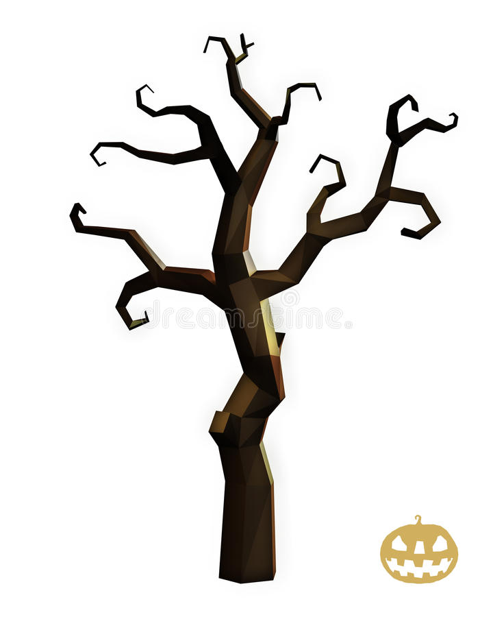 Arbre d'horreur de Halloween bas poly illustration stock