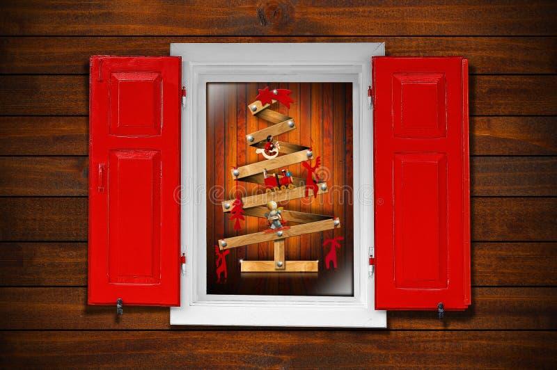 Arbre d'hublot et de Noël illustration stock