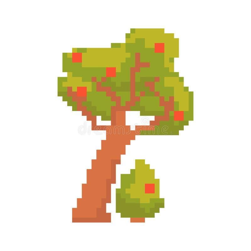 Arbre d'isolement sur le fond blanc Graphiques pour des jeux 8 bits Illustration de vecteur dans l'art de pixel illustration de vecteur