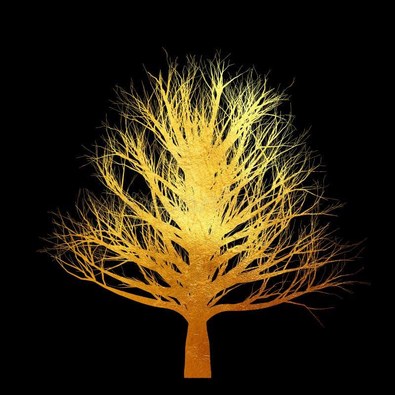 Arbre d'or sans feuilles d'isolement sur le fond noir illustration de vecteur