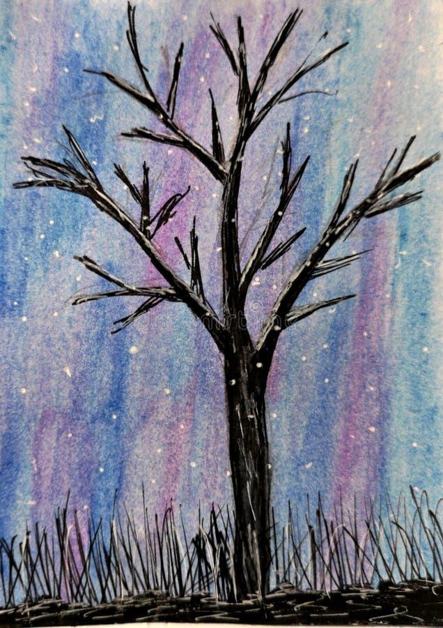 Arbre dans l'illustration d'hiver - aquarelle illustration de vecteur