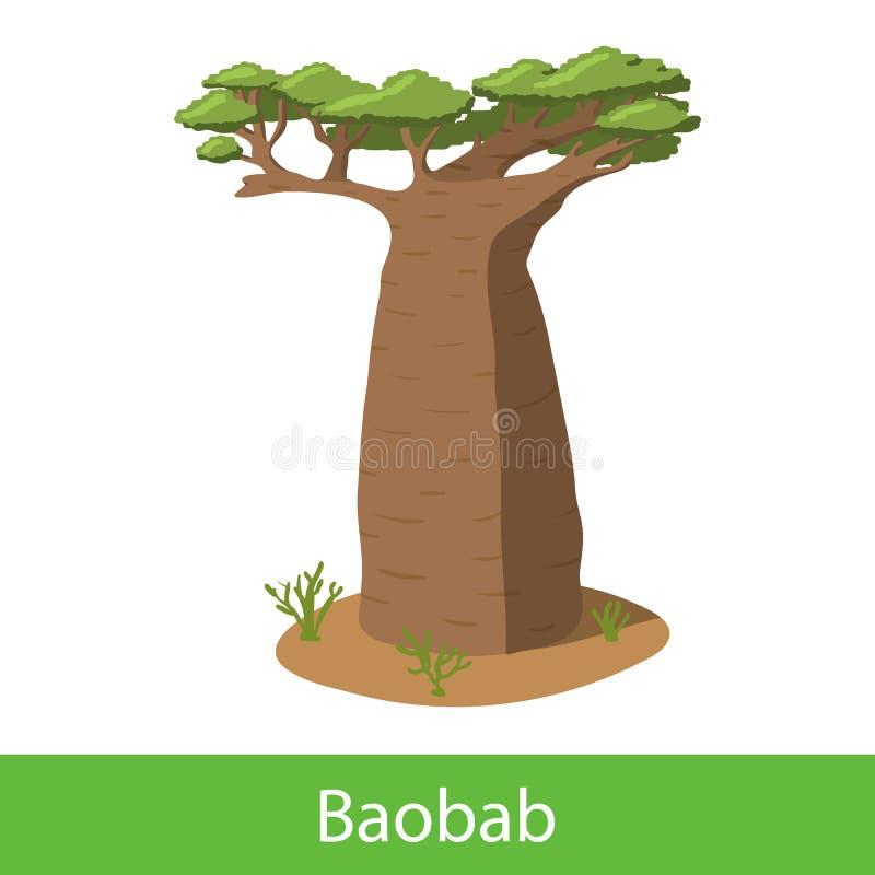 Arbre de bande dessinée de baobab illustration de vecteur
