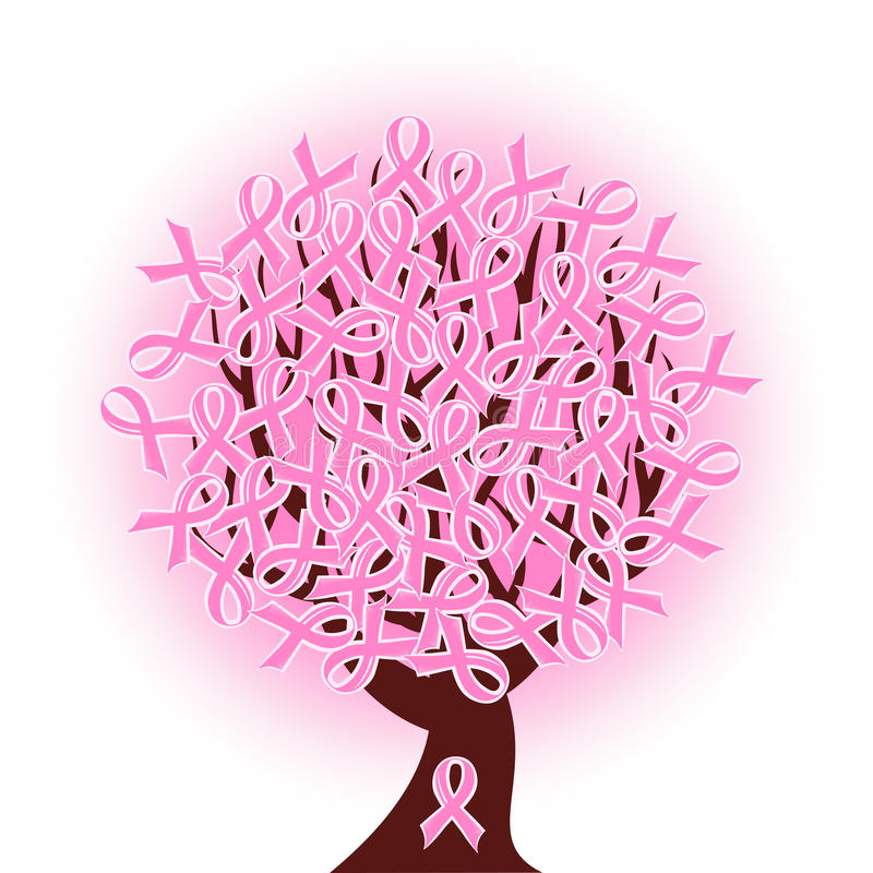 Arbre de bande rose de cancer du sein illustration libre de droits
