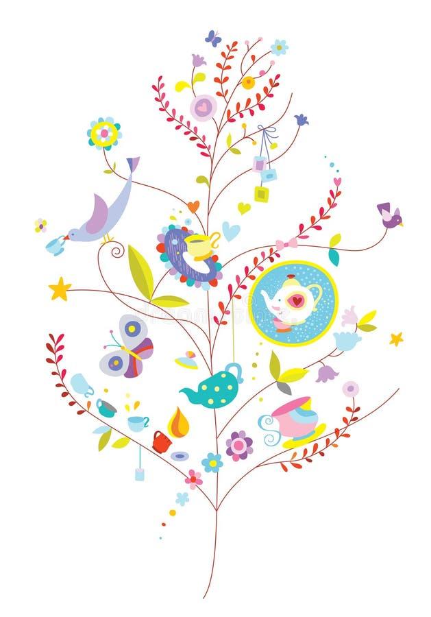 Arbre de bien-être avec des oiseaux et des éléments mignons illustration de vecteur