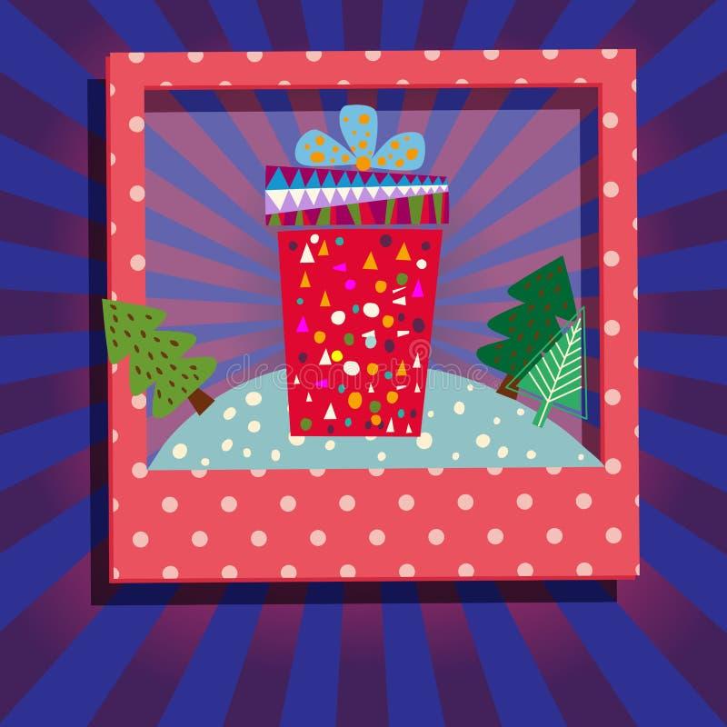 arbre de cadeau de Noël de cadre illustration stock