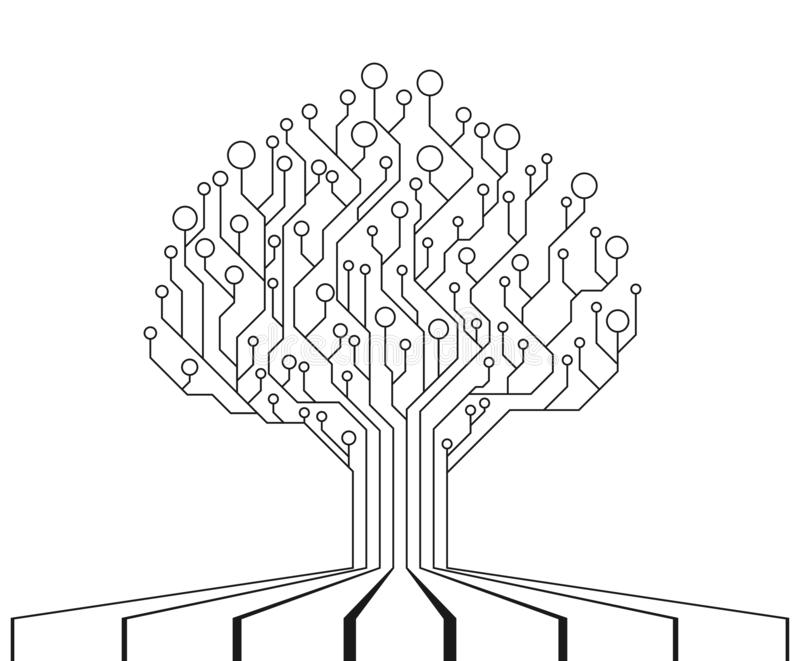 Arbre de carte Unité centrale de traitement de technologie, interface de microprocesseur illustration de vecteur