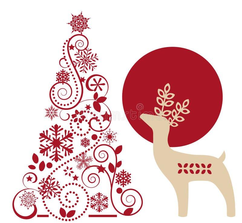 Arbre de cerfs communs et de Noël de graphique illustration stock