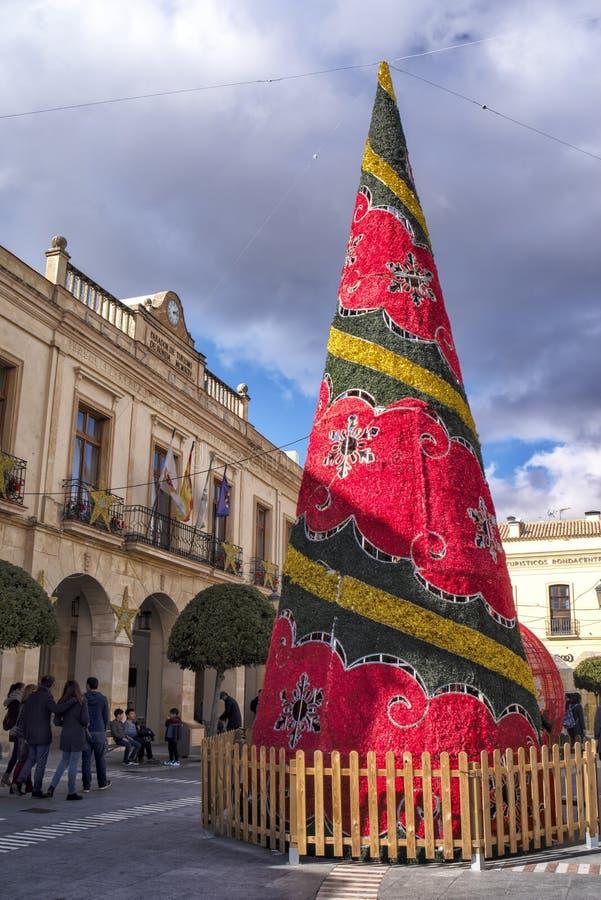 Arbre de Christmass et de nouvelle année à Ronda, Andalousie, Espagne photographie stock