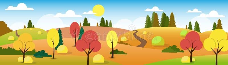 Arbre de ciel de nuage d'Autumn Landscape Forest Road Blue illustration stock