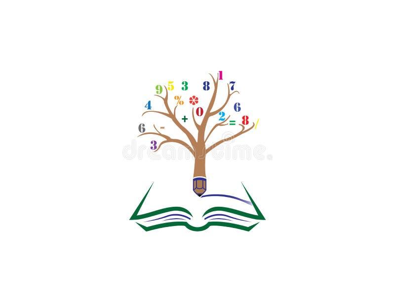 Arbre de crayon avec des nombres dans des brindilles et écrire dans un livre ouvert pour l'illustrateur de conception de logo illustration stock