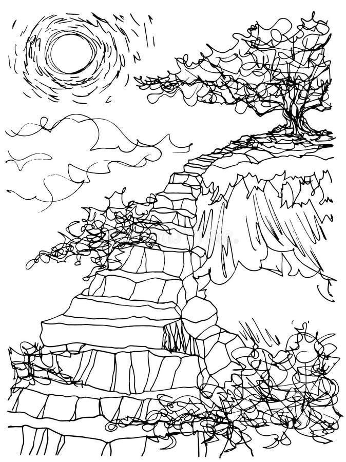 Arbre de croquis sur la conception de griffonnage de vecteur d'illustration d'escalier de roche de montagne tirée par la main illustration stock