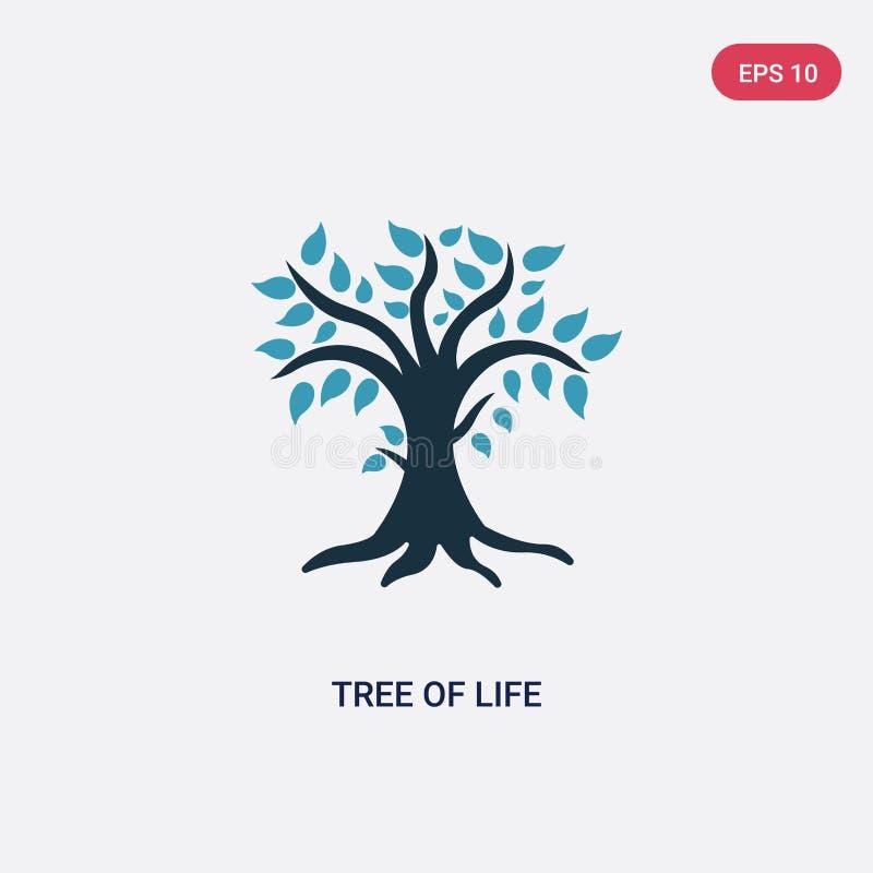 Arbre de deux couleurs d'icône de vecteur de la vie de concept de religion l'arbre bleu d'isolement du symbole de signe de vecteu illustration de vecteur