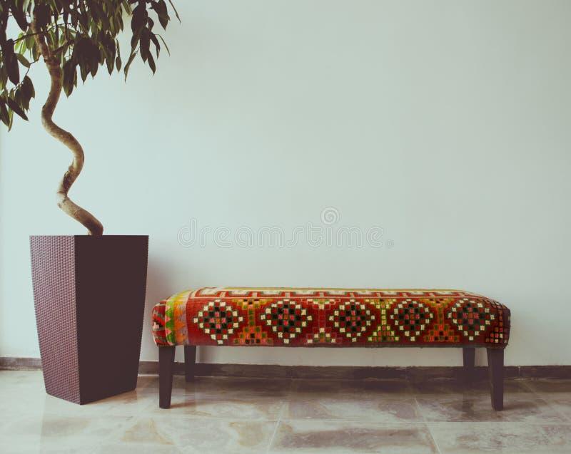 Arbre de ficus dans le salon à côté d'un sofa photos stock