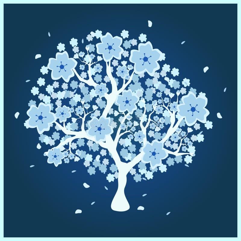 Arbre de fleur avec les fleurs bleues illustration stock