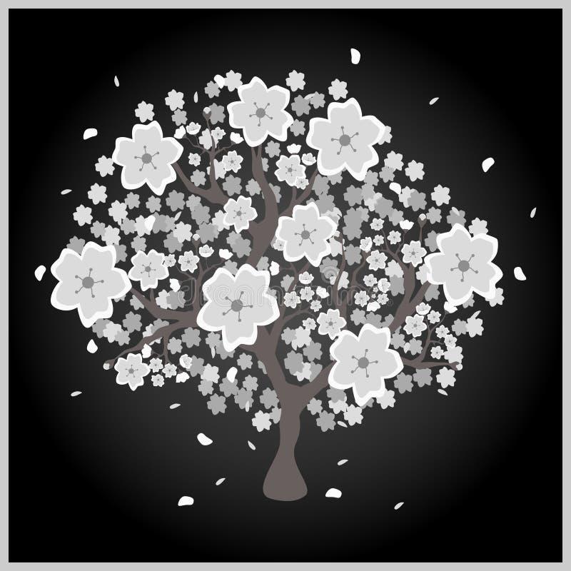 Arbre de fleur avec les fleurs grises et blanches illustration de vecteur