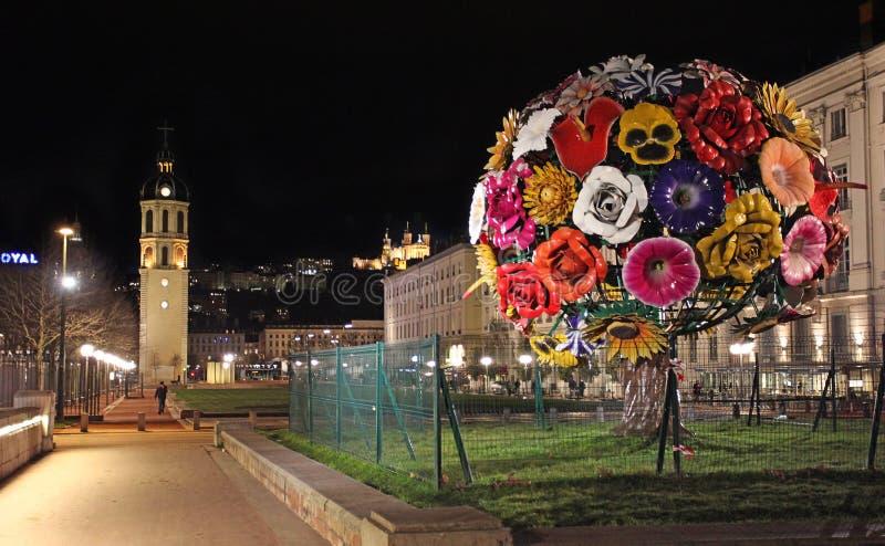 Arbre de fleur de Lyon par nuit photographie stock libre de droits