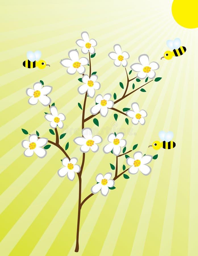 Arbre de floraison et les abeilles illustration stock