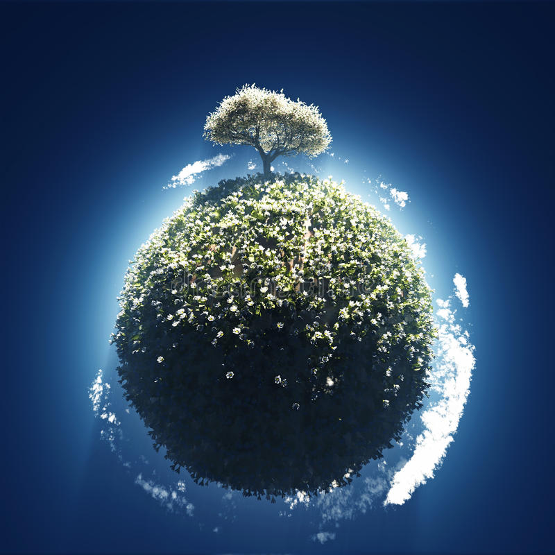 Arbre de floraison sur la petite planète illustration libre de droits