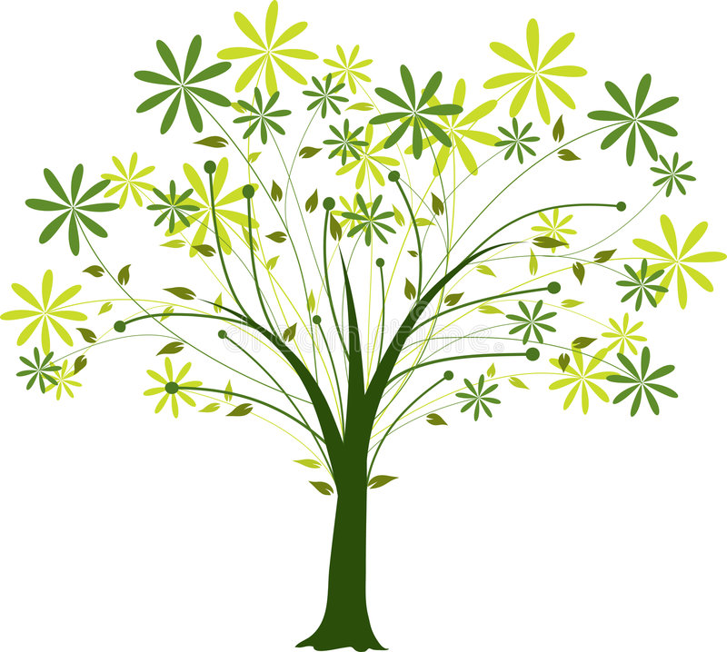 Arbre de floraison, vecteur illustration stock