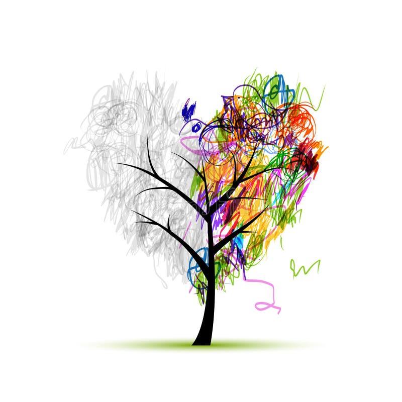 arbre de forme de coeur dessin au crayon pour votre conception illustration de vecteur. Black Bedroom Furniture Sets. Home Design Ideas